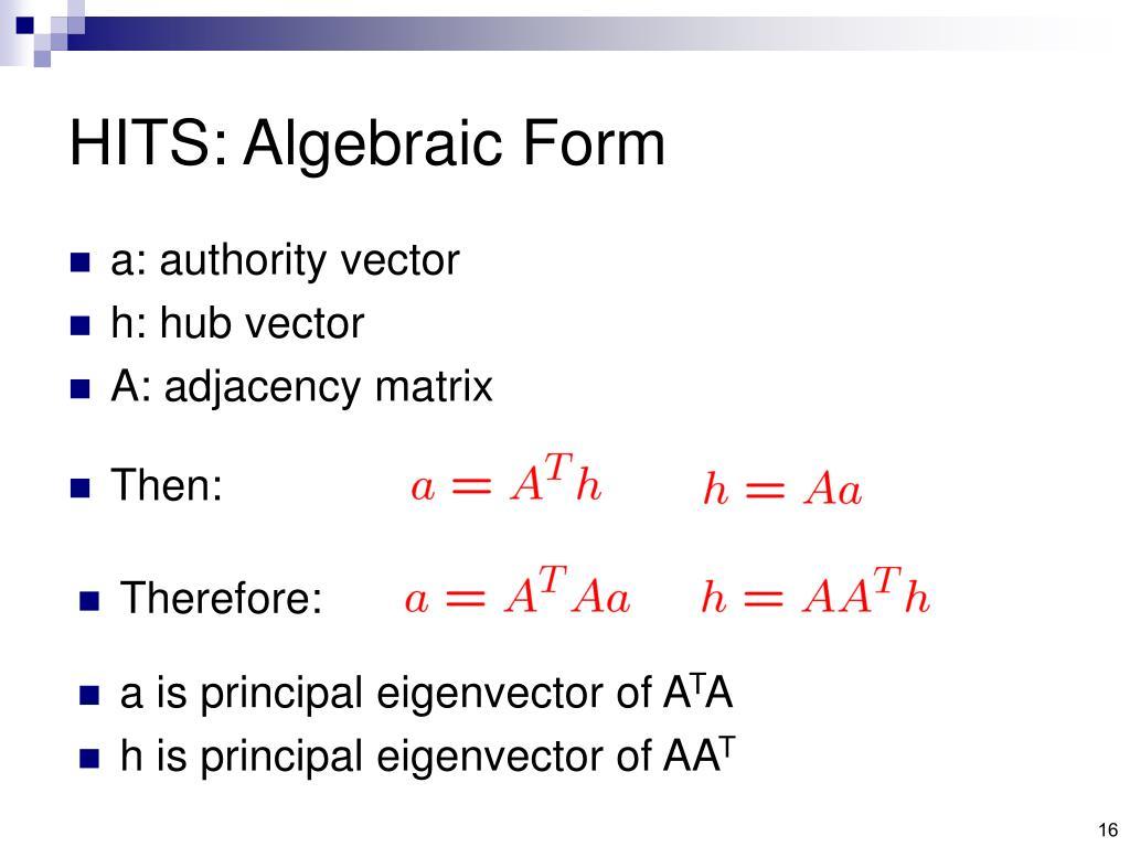 HITS: Algebraic Form