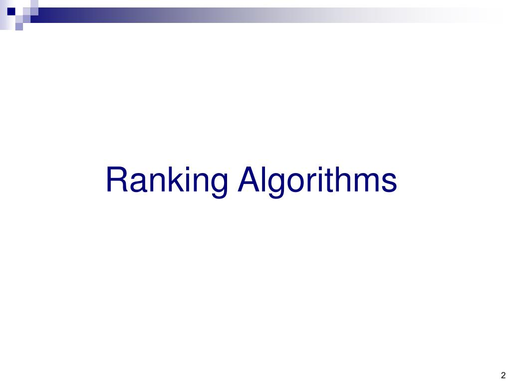 Ranking Algorithms