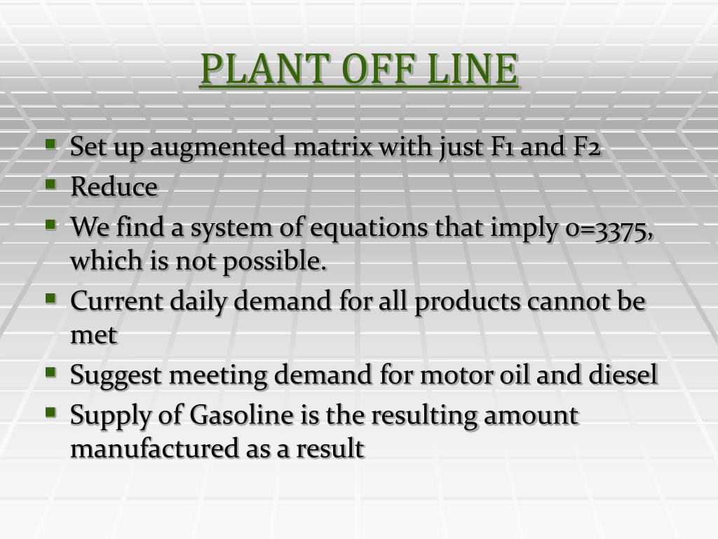 PLANT OFF LINE
