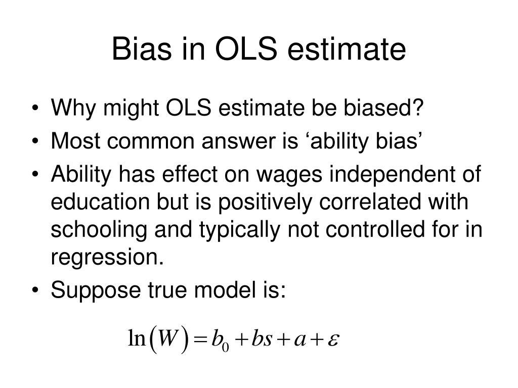 Bias in OLS estimate