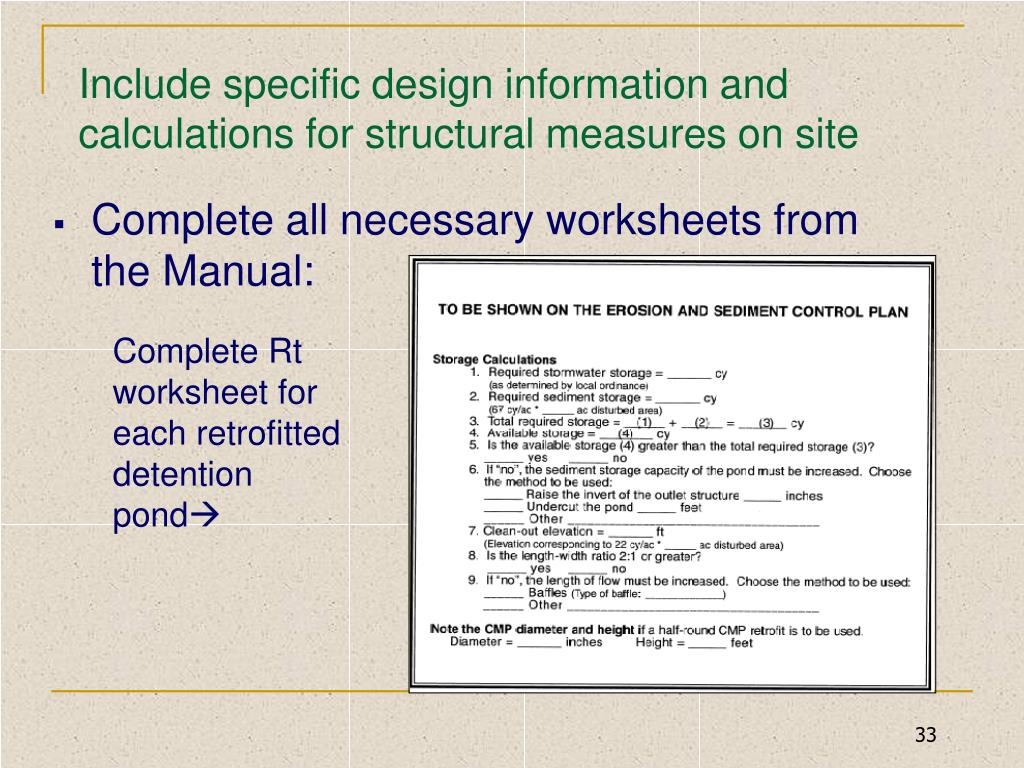 Include specific design information and calculations for structural measures on site