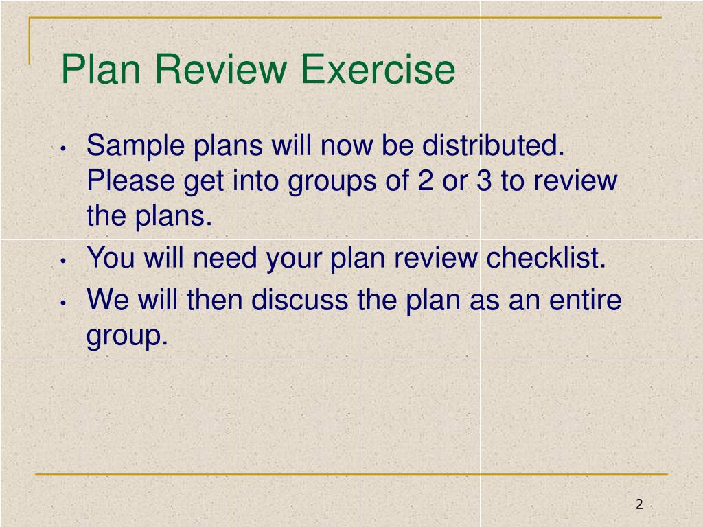Plan Review Exercise