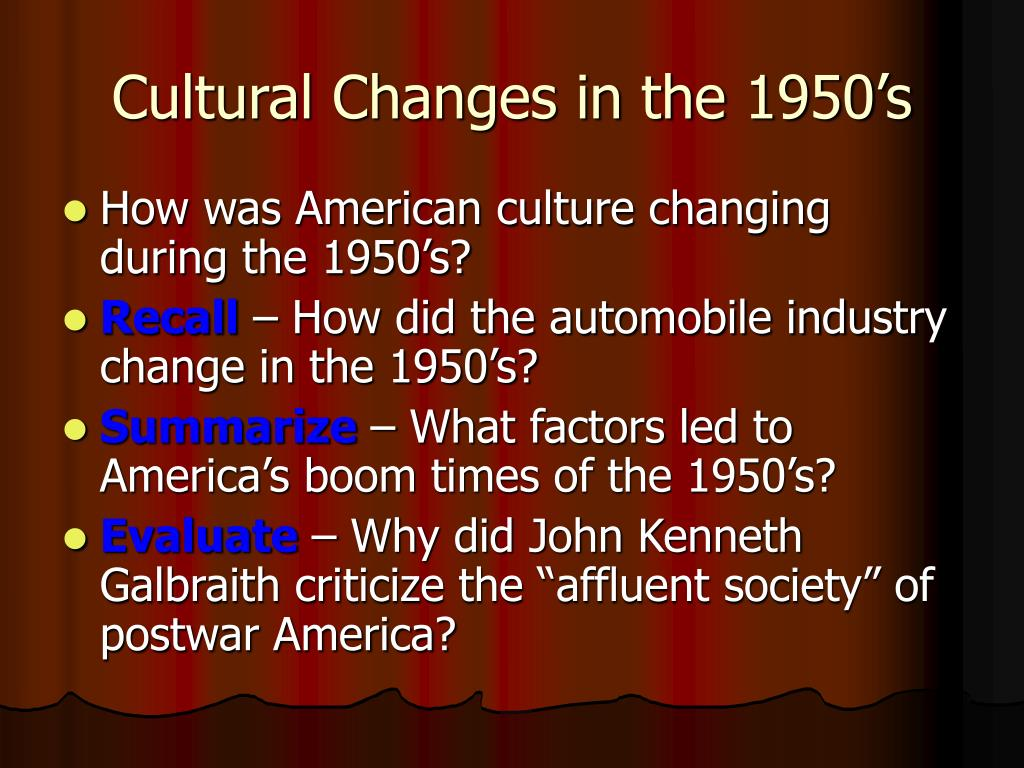 Cultural Changes in the 1950's