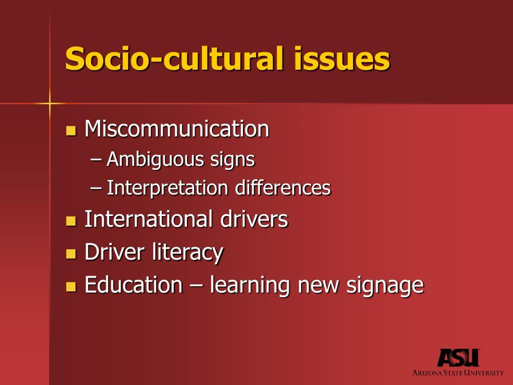 Socio-cultural issues