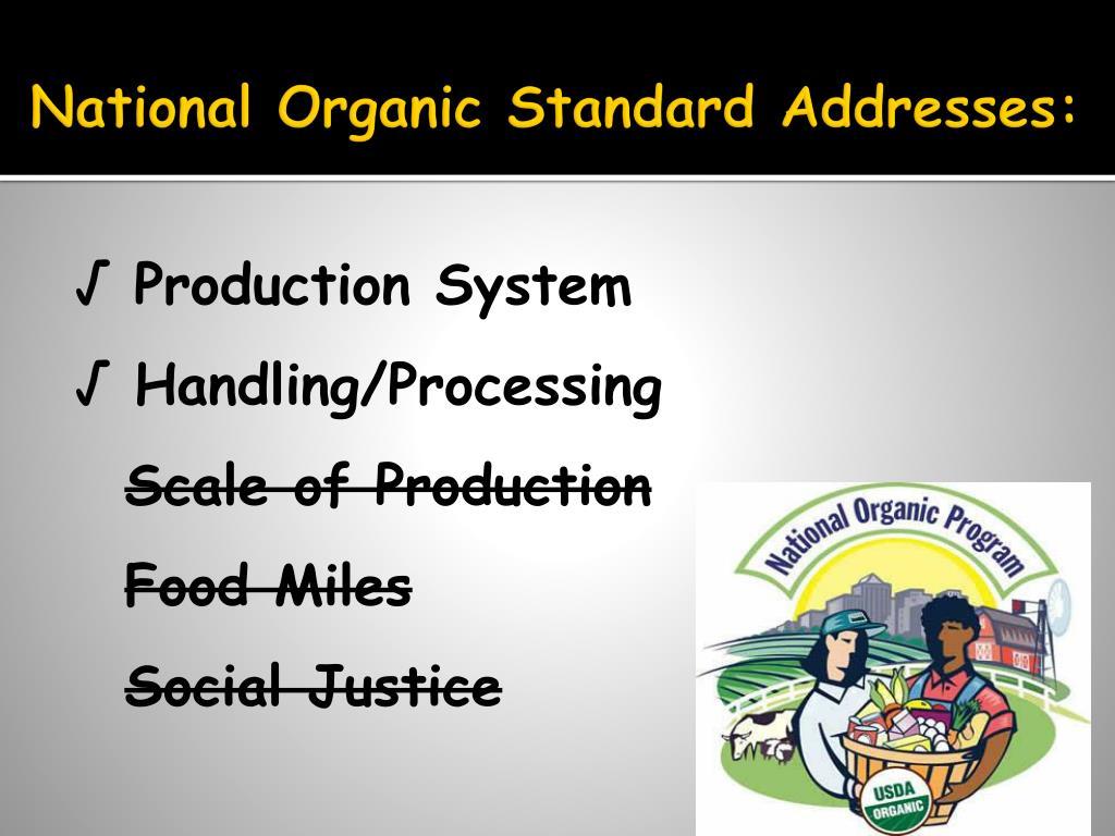 National Organic Standard Addresses: