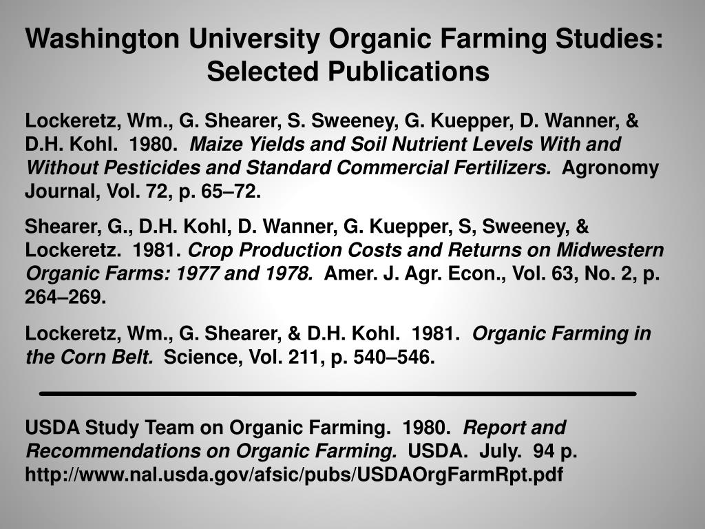 Washington University Organic Farming Studies:
