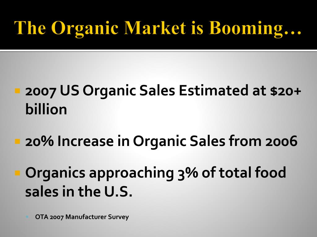 The Organic Market is Booming…