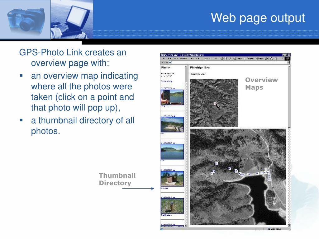 Web page output