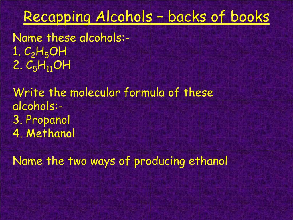 Recapping Alcohols – backs of books