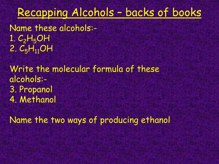 Recapping alcohols backs of books