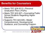 benefits for counselors