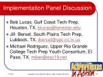 implementation panel discussion