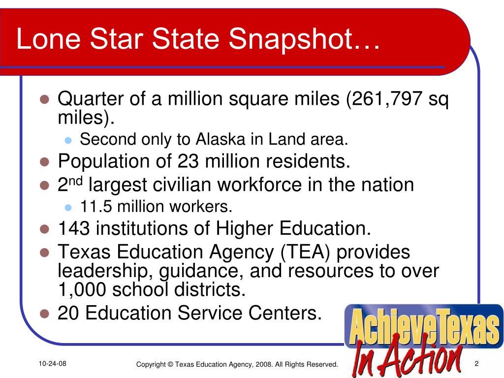 Lone Star State Snapshot…