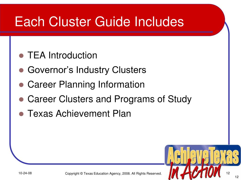 Each Cluster Guide Includes