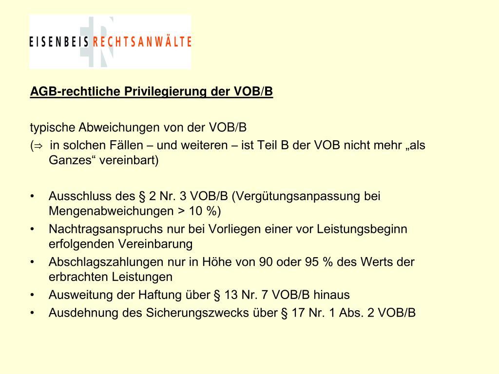 AGB-rechtliche Privilegierung der VOB/B