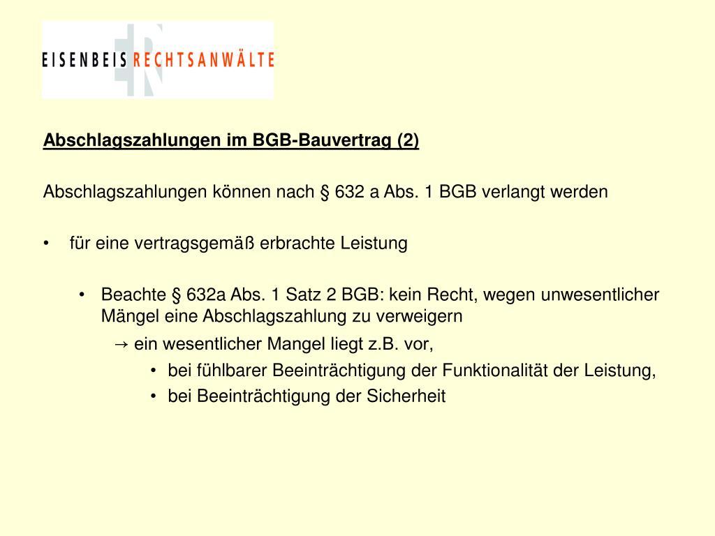 Abschlagszahlungen im BGB-Bauvertrag (2)