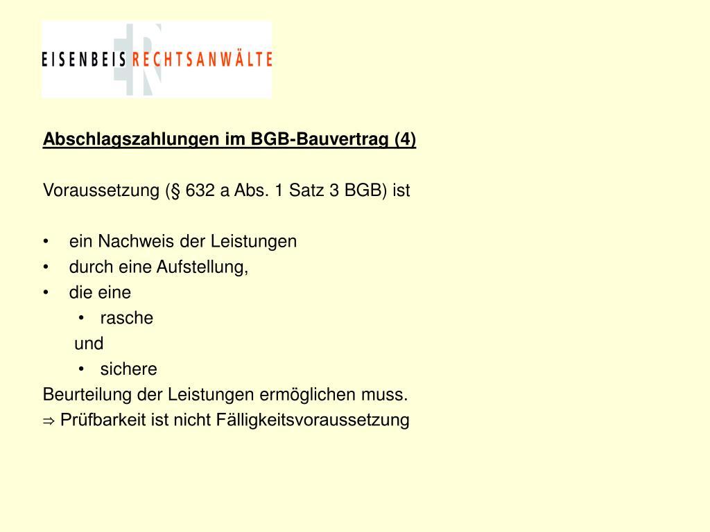 Abschlagszahlungen im BGB-Bauvertrag (4)