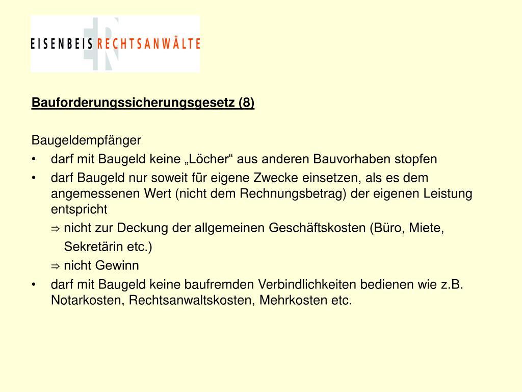 Bauforderungssicherungsgesetz (8)