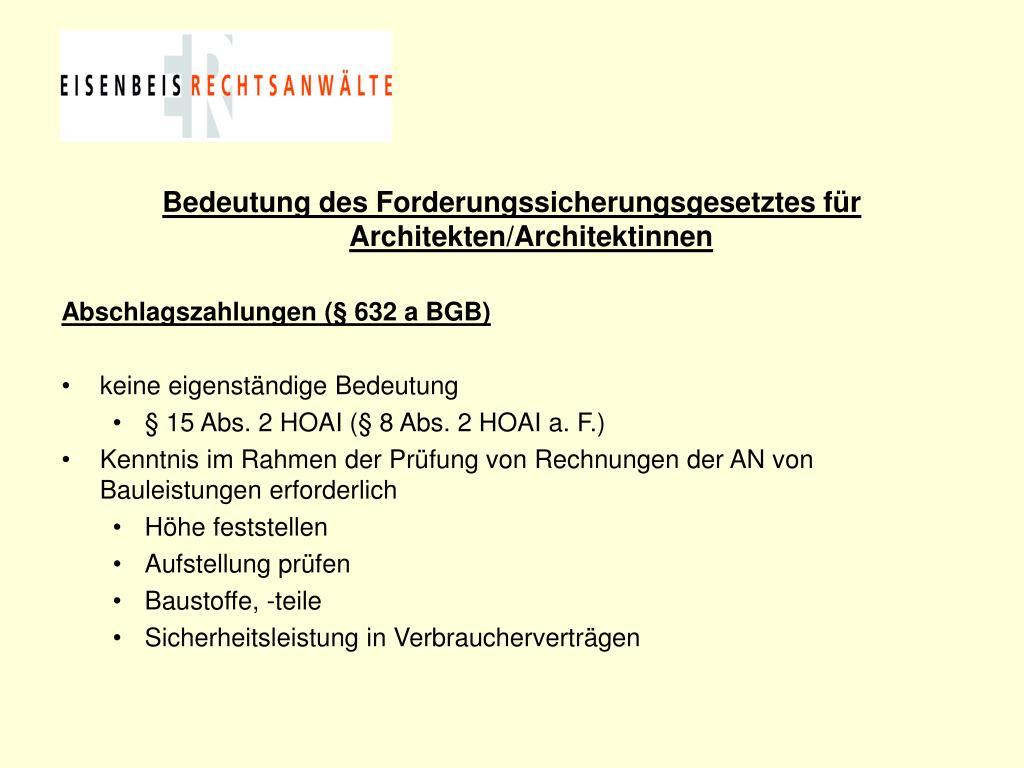 Bedeutung des Forderungssicherungsgesetztes für Architekten/Architektinnen