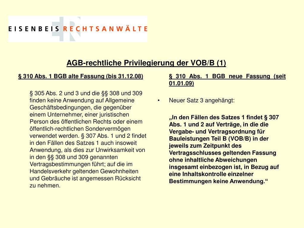 § 310 Abs. 1 BGB alte Fassung (bis 31.12.08)