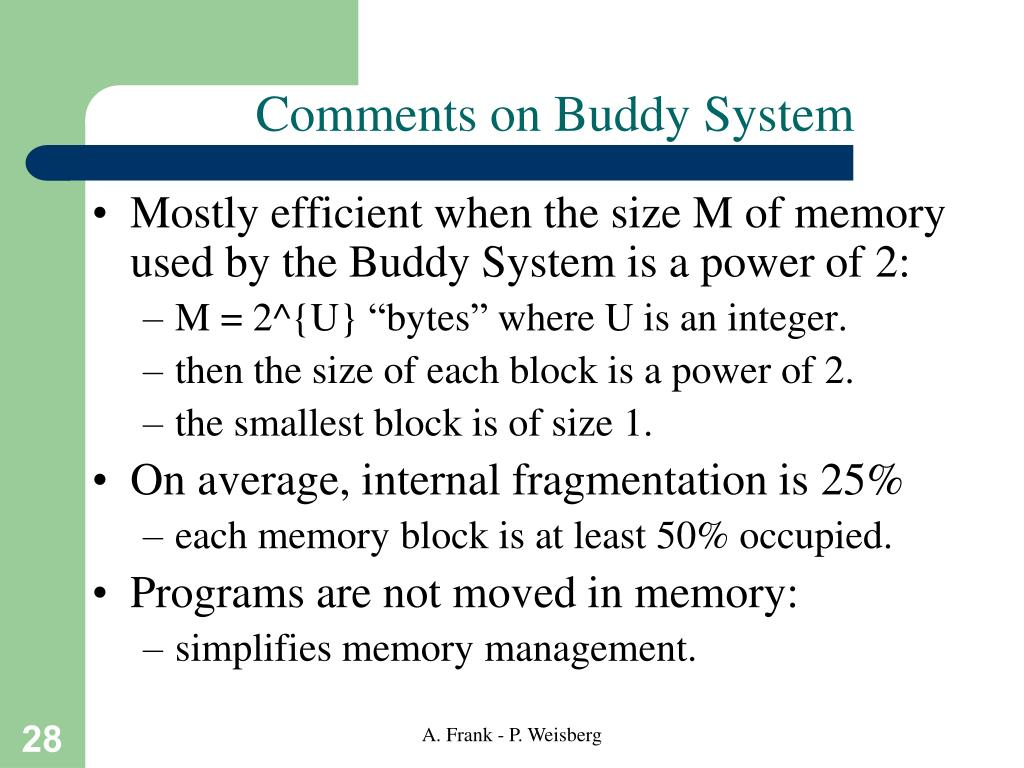 Comments on Buddy System