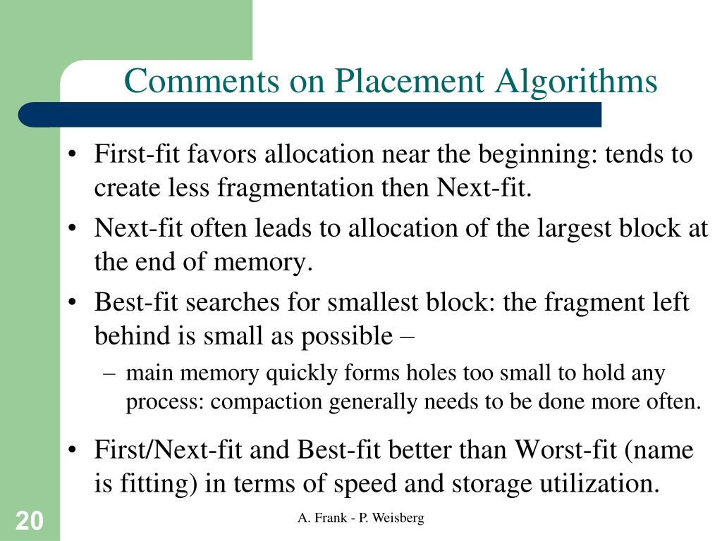 Comments on Placement Algorithms