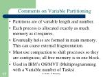 comments on variable partitioning