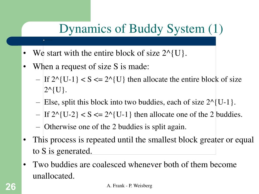 Dynamics of Buddy System (1)