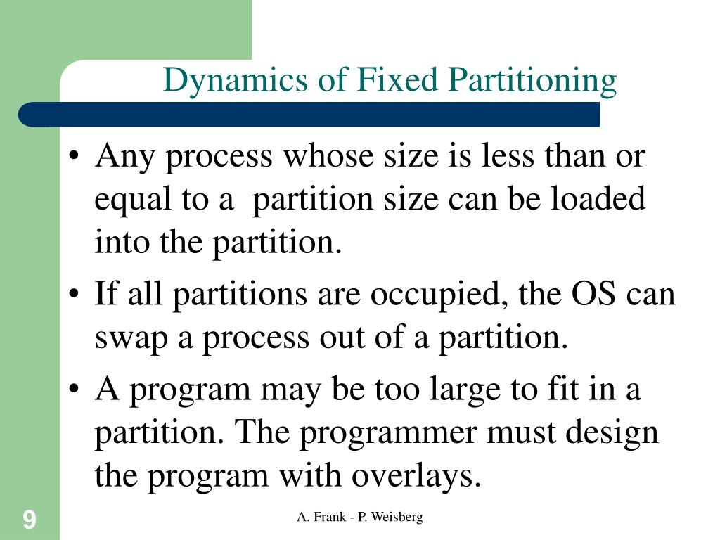 Dynamics of Fixed Partitioning