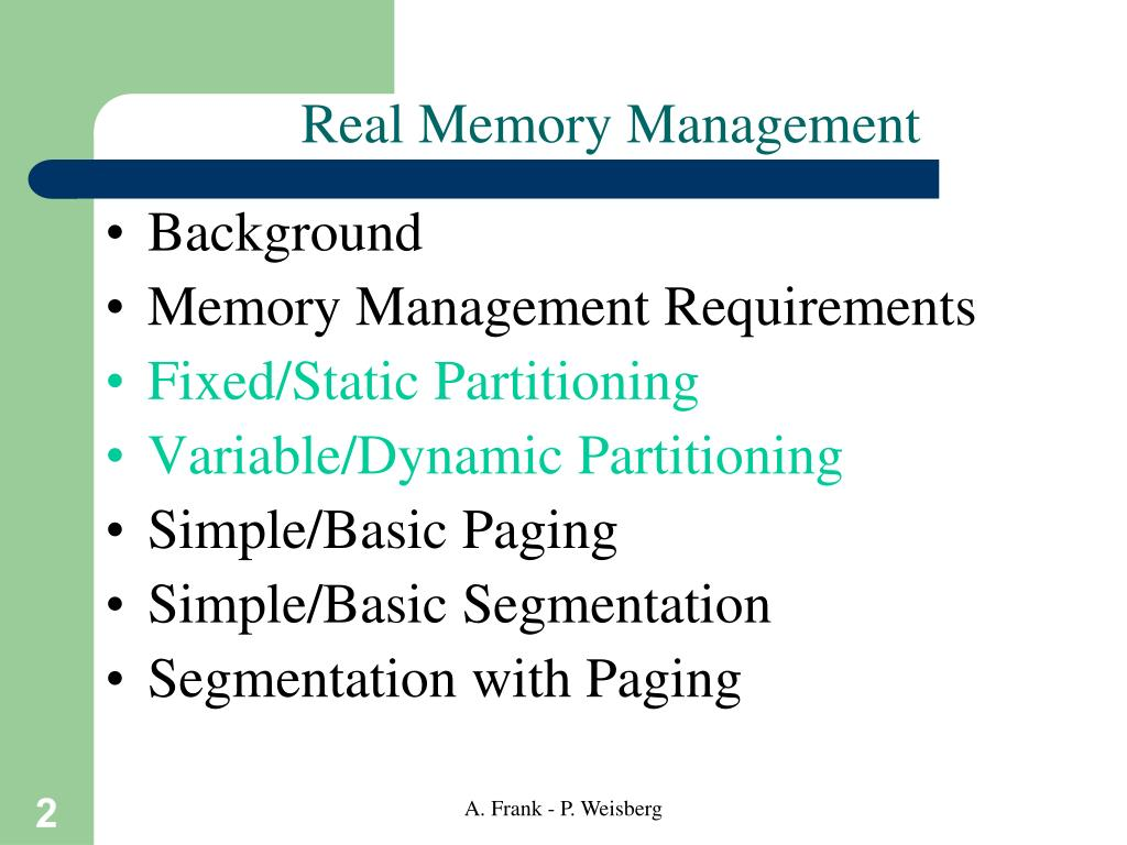 Real Memory Management