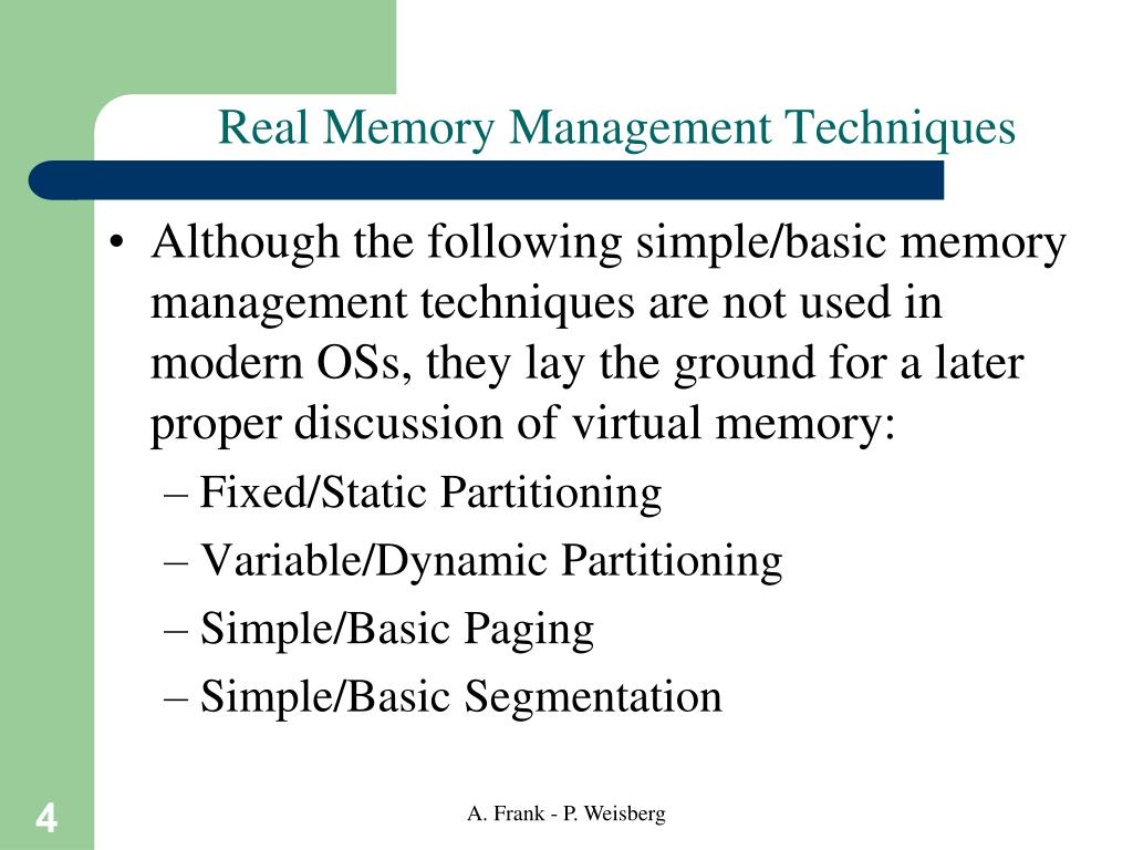 Real Memory Management Techniques