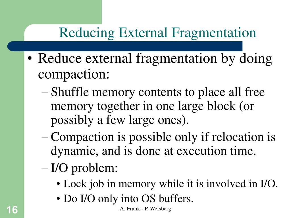Reducing External Fragmentation