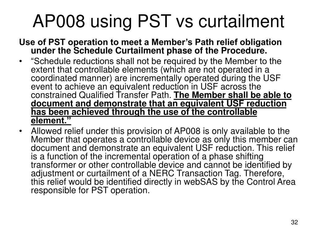 AP008 using PST vs curtailment