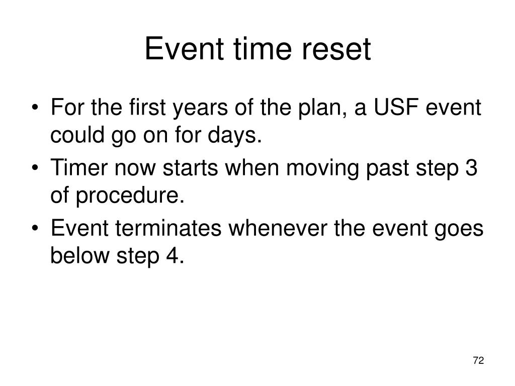 Event time reset
