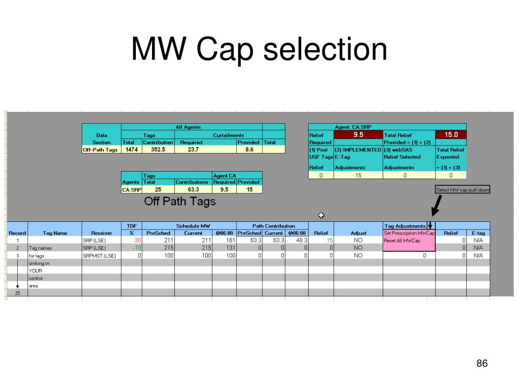 MW Cap selection