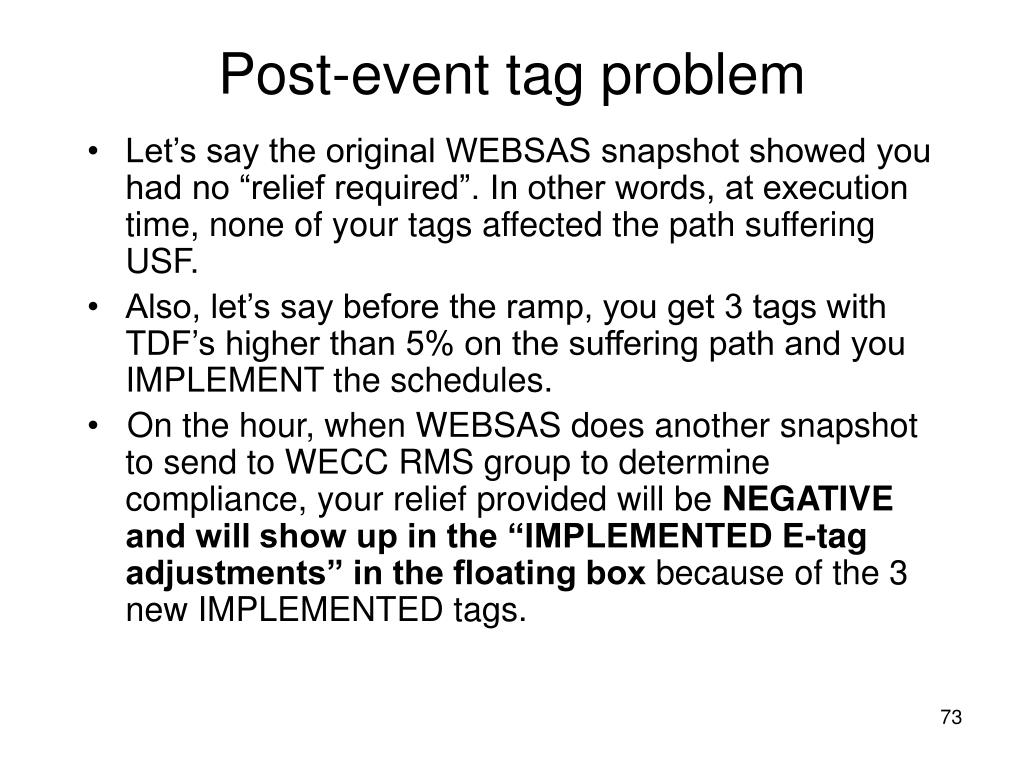 Post-event tag problem