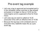 pre event tag example