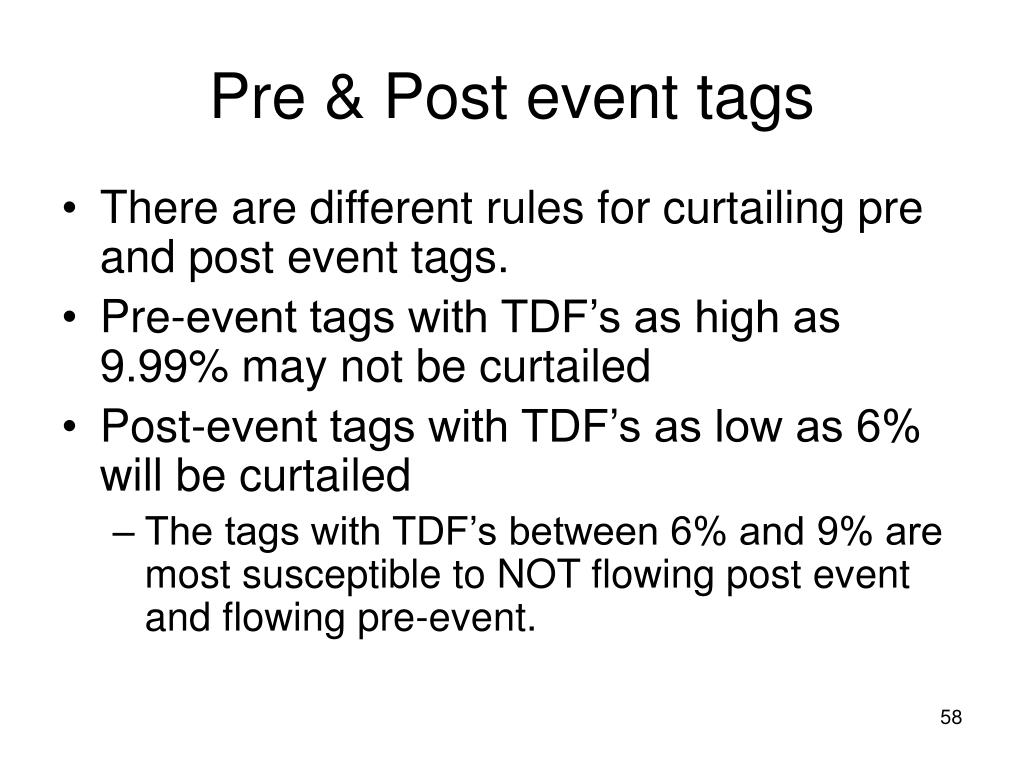Pre & Post event tags