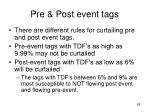 pre post event tags