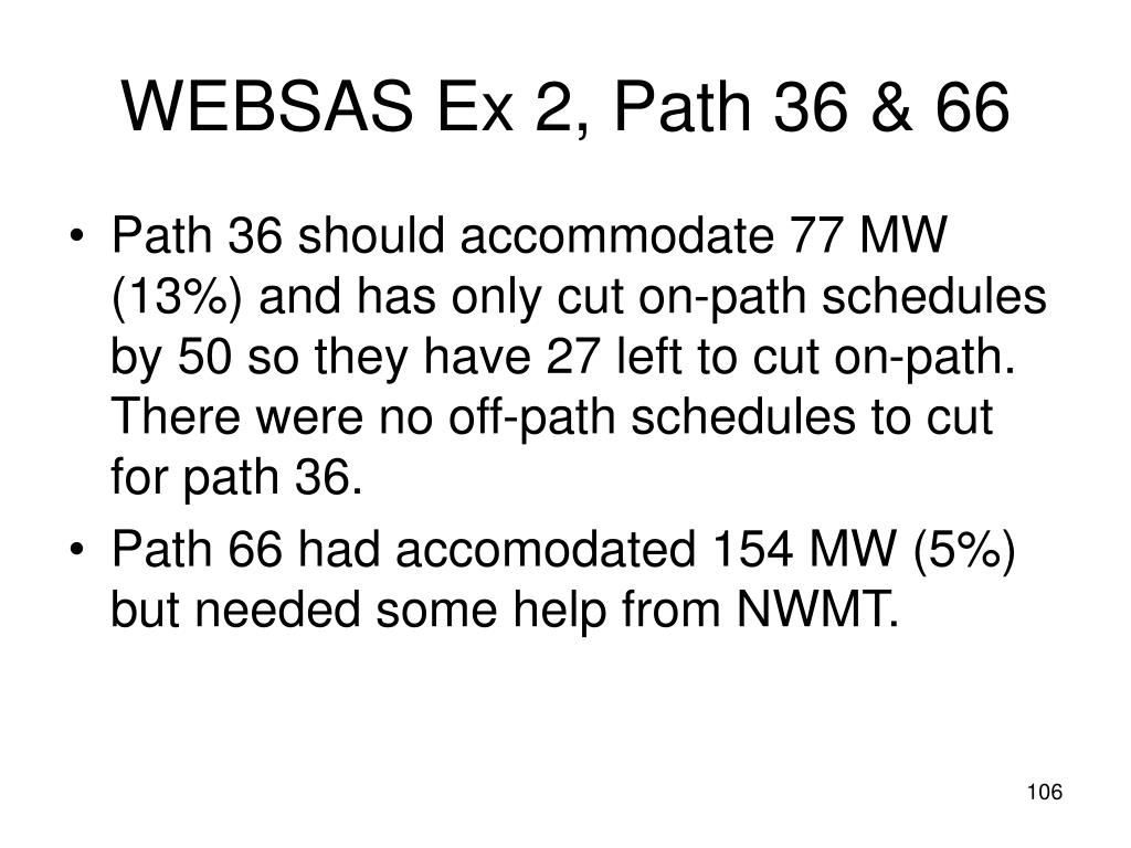 WEBSAS Ex 2, Path 36 & 66