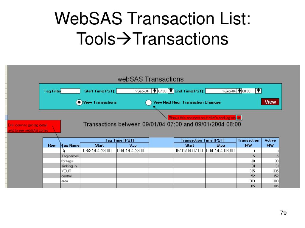 WebSAS Transaction List: