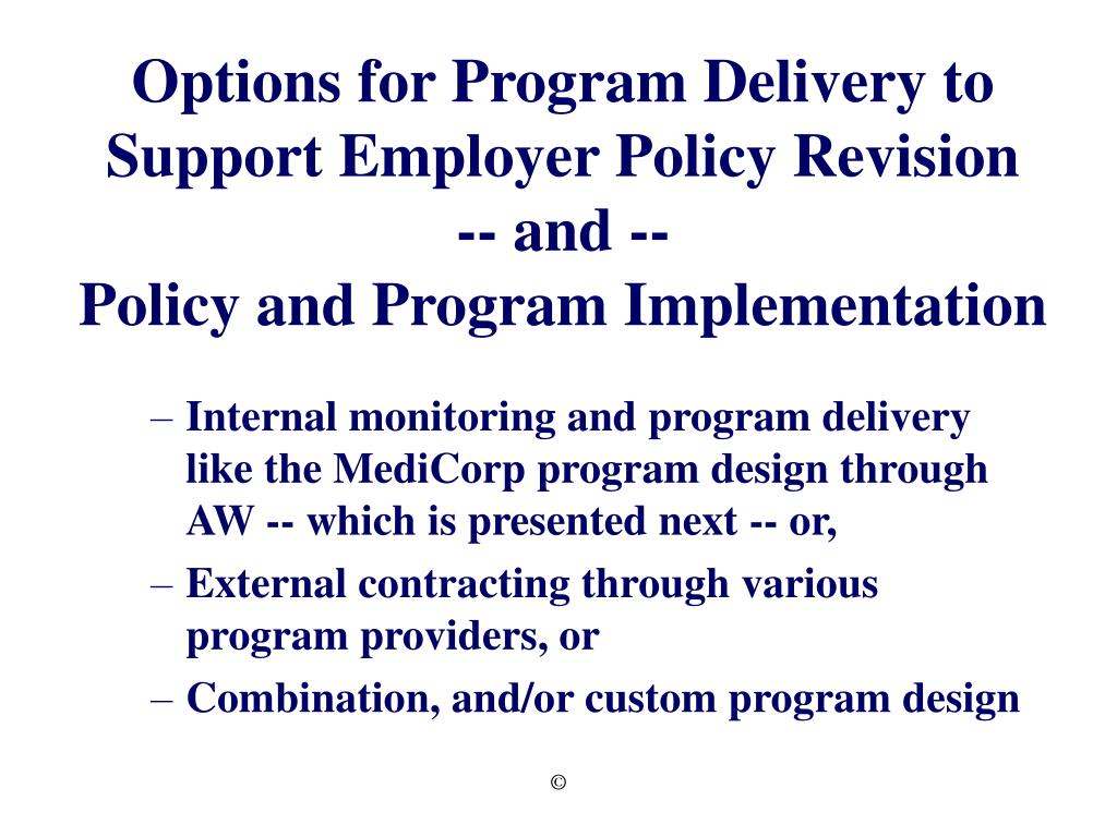 Options for Program Delivery to Support Employer Policy Revision