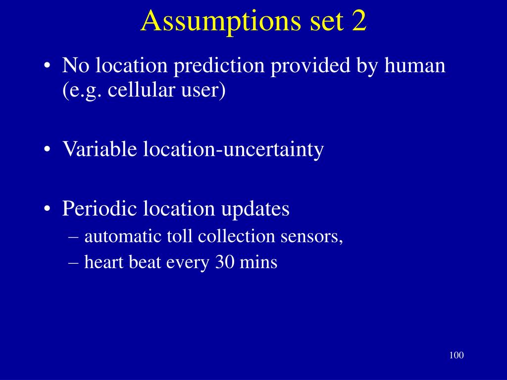 Assumptions set 2
