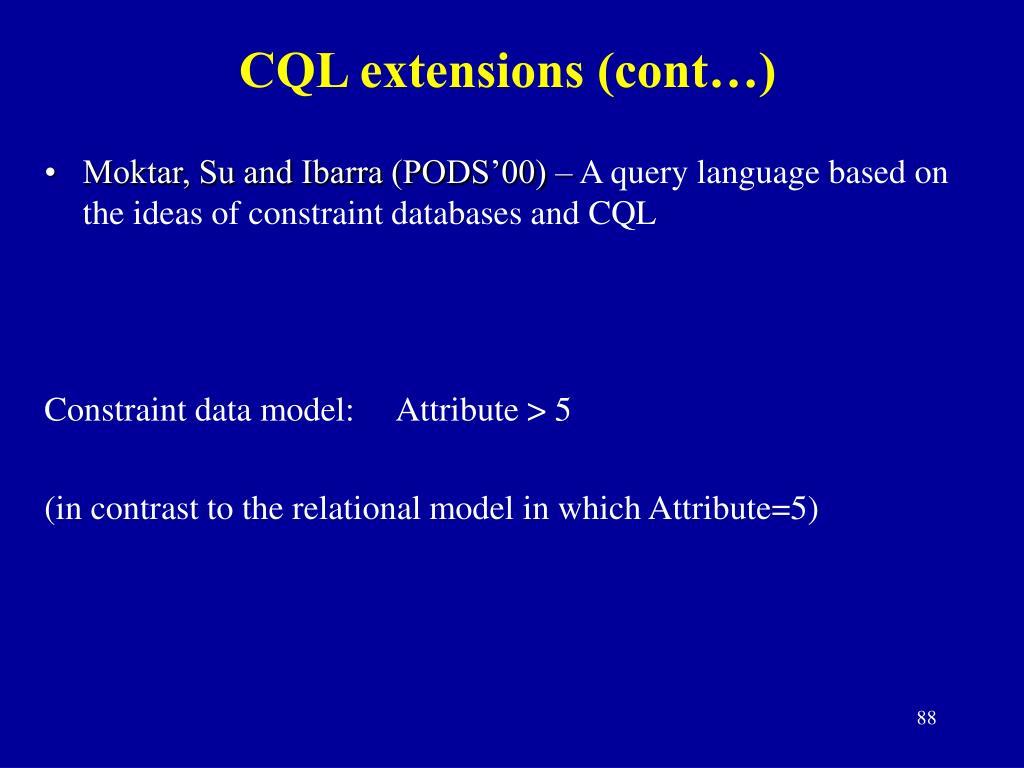 CQL extensions (cont…)