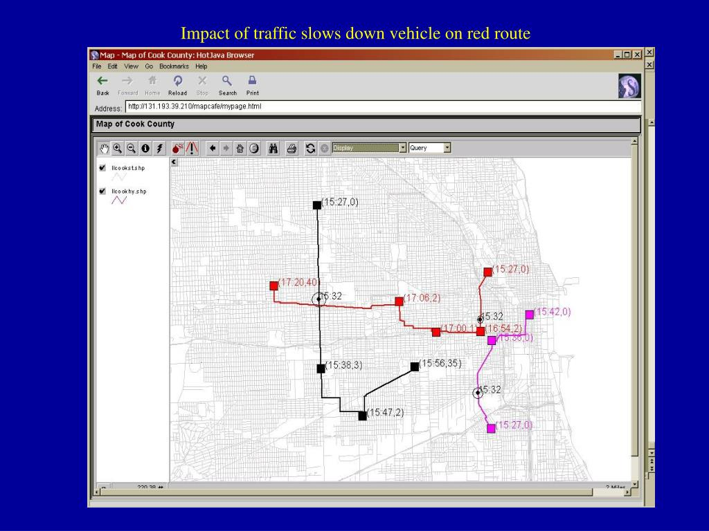 Impact of traffic slows down vehicle on red route