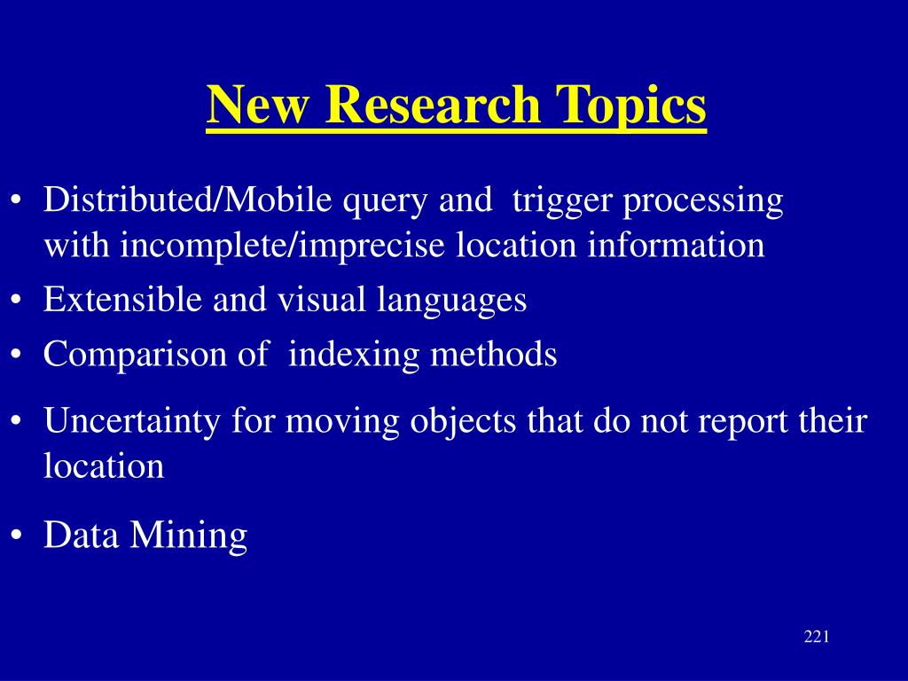 New Research Topics