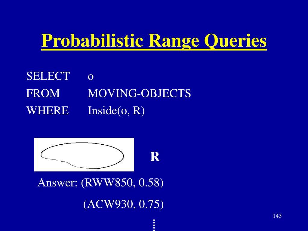 Probabilistic Range Queries