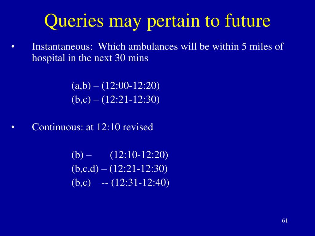 Queries may pertain to future