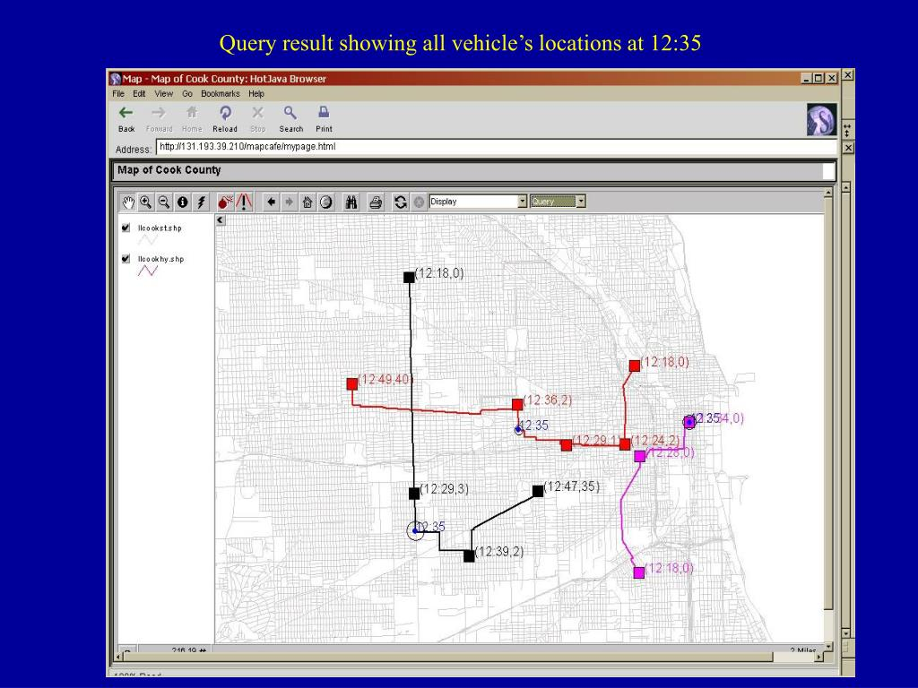 Query result showing all vehicle's locations at 12:35
