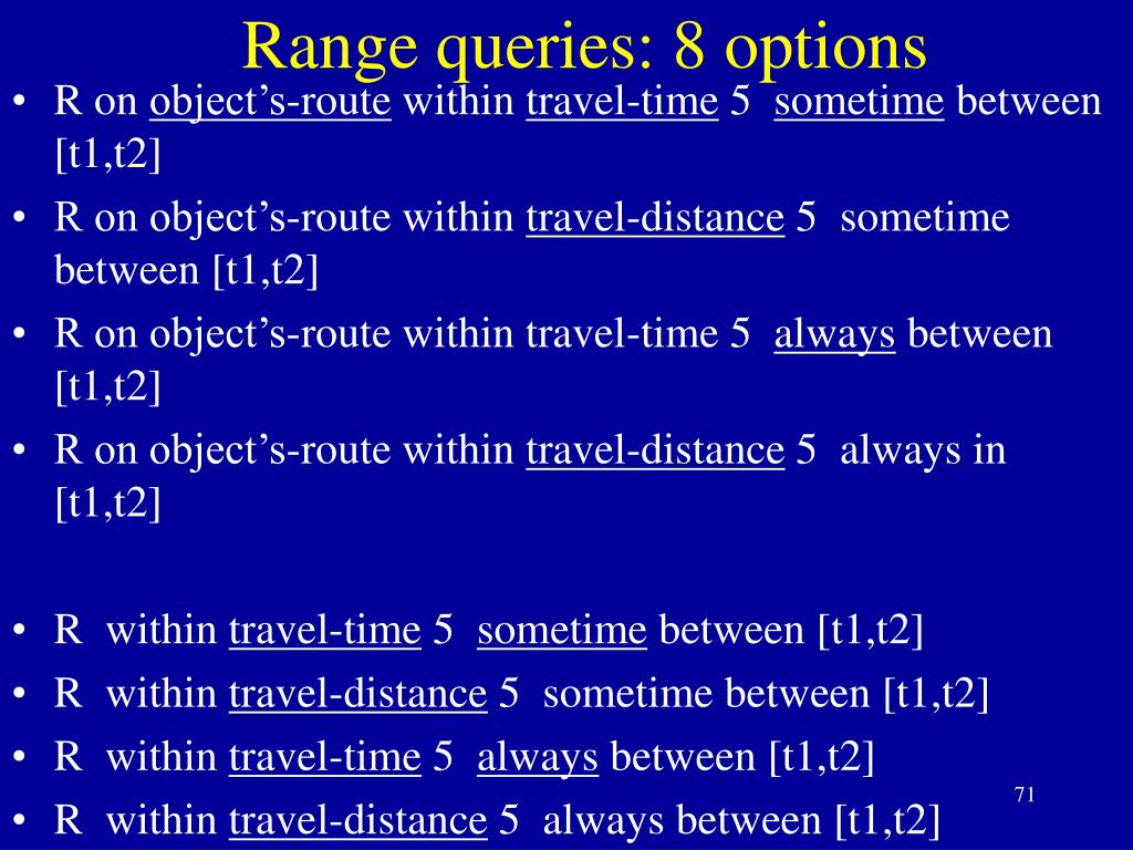 Range queries: 8 options